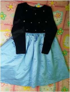 Black/Blue long sleeve Dress