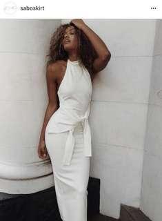 Sabo lux white midi dress