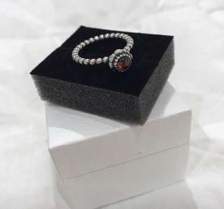 (New) Authentic Pandora Carnelian and Silver Ring (Size 58)