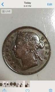 Straits settlements 1901 quarter cents