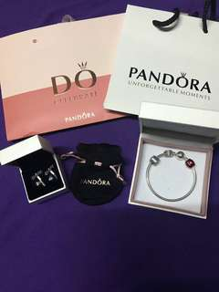 Pandora Bracelet and Earrings (Authentic)