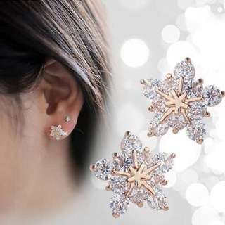 韓版時尚簡約水晶雪花耳釘韓國可愛精緻小耳環女甜美防過敏耳飾品