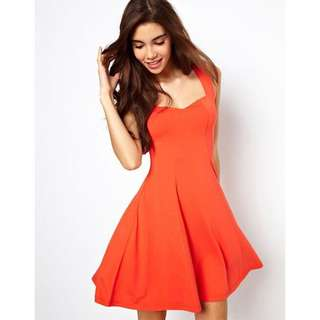 Orange Cut-Out Open Back sleeveless skater dress with sweetheart neckline