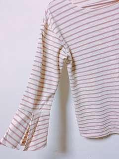 可愛粉色橫條➕傘狀袖