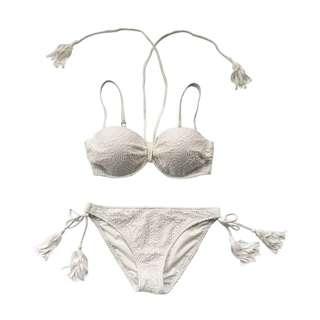 [OH_JUMP] 歐美黑白兩款蕾絲性感鋼圈綁帶露背比基尼