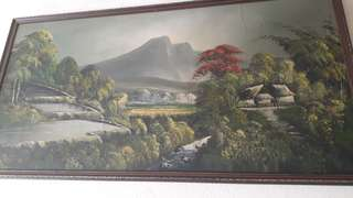 vintage painting this is a wonderfull painting  just need a little works to be done to bigger frame work be much better