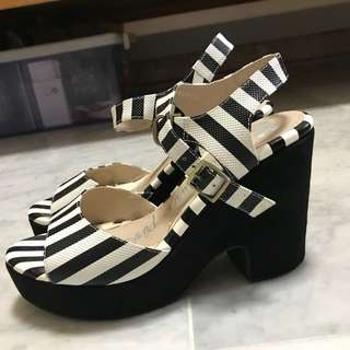 Black and white striped wedge platform sandals