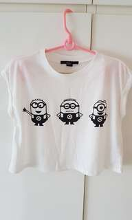 Forever 22 minion crop top tee