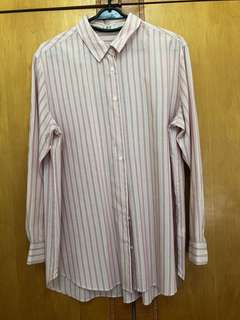 Uniqlo Striped Long Sleeves Shirt (Pink)