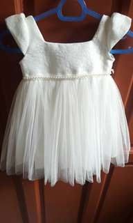 White Baptismal / Christening Dress with Cap