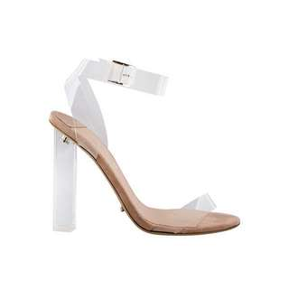 TONY BIANCO KIKI CLEAR VYNALITE/BLUSH KID SUEDE