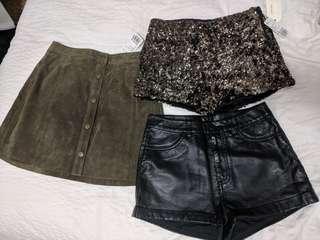 XXS/24 skirt and short shorts lot
