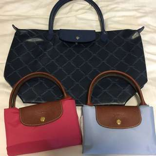 Longchamp M Size bag 桃紅 淺藍 短柄袋 手袋