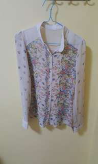 MDS floral chiffon top