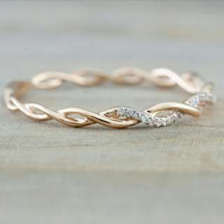 Adult Solid Rose Gold Ring / Female Stack Twisted Crystal Ring