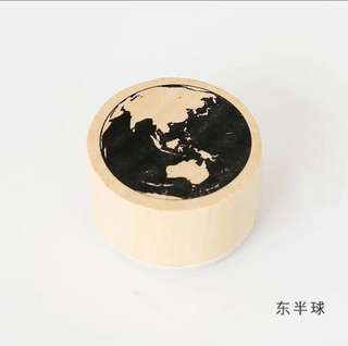 Earth stamp + Ink Pad for travel journals