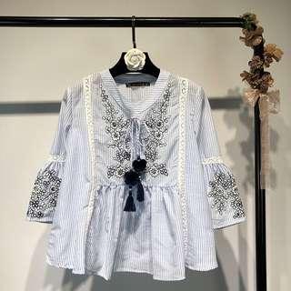 🔥2018 European Ball Tassel Flared Sleeve Loose Shirt