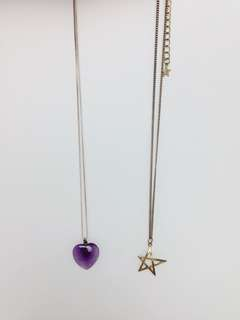 Bundle: Violet Heart and Gold Star Necklace