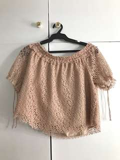 nude off the shoulder top with detail