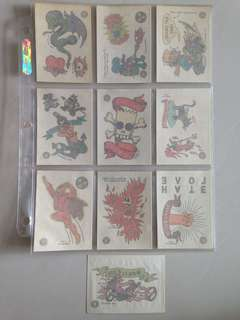Full Set of 1993 Simpsons Series 1 Tattoo Cards (10 Cards)