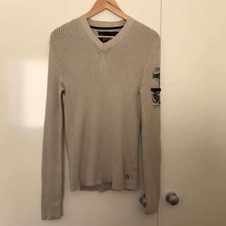 Vgc Men's Size Small Guess Beige Knit Sweater