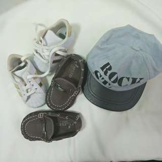Preloved baby shoes and cap