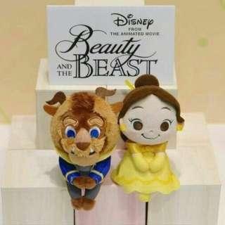 日本 迪士尼 美女與野獸 Beauty and The Beast 貝兒 Belle 野獸 排排坐 坐姿 毛绒玩具 公仔 玩偶 2色 有現貨