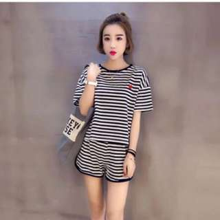 BN Black and White Stripe Pajamas Or Tracksuit (Top + Shorts)