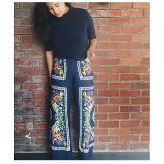 Navy Straight leg floral printed pants