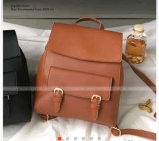 🚚 天藍小舖 氣質雙釦多背法皮革後背包 / 棕色 原價:399