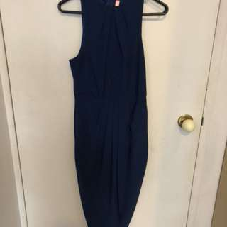 Blue high neck dress - size 8