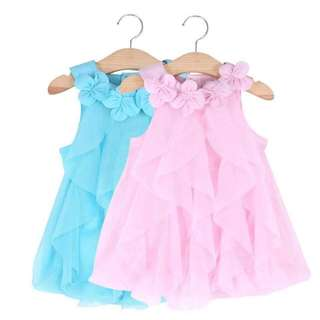Sleeveless Mesh Flower Baby Dress