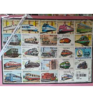 25 stamps - trains