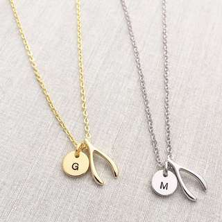 "NL056- Wishbone Necklace Minimalist Custom Hand stamped Minimalist Jewelry with ""1 Alphabet"" Disc Charm - Shiny Gold, Shiny Rose Gold OR Shiny Rhodium Plated - Made To Order - Capital Letters Only"