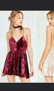 Wine Red Crush Velvet Open Back Skater Dress
