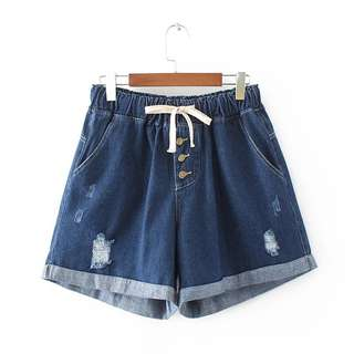 (XL~4XL) Elastic Waist Holes Denim Shorts