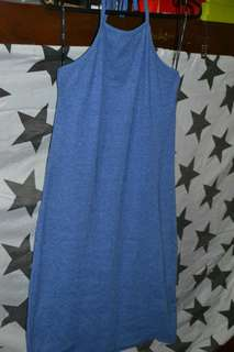 Blue Ribbed Halter Dress
