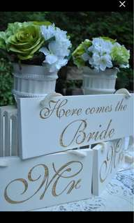 """Wedding Sign Set - """"Here Comes the Bride"""" & """"Mr and Mrs"""""""