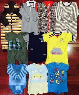Take All 10 Pcs 12-18 Months Baby Boy Rompers Frogsuits Excellent Condition