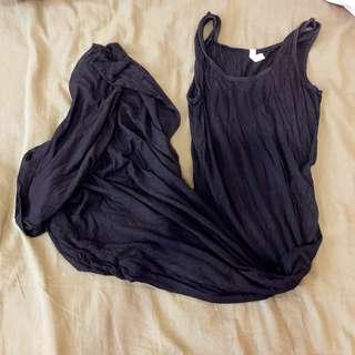 🚚 全黑 連身洋裝 彈性布 F尺寸