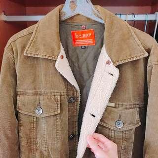 🚚 韓風保暖棉羊毛卡其燈芯絨鋪棉外套