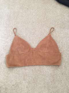 Brown suede Bardot crop/bralette