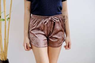 Velvet jogger shorts (copper, beige, green, black)