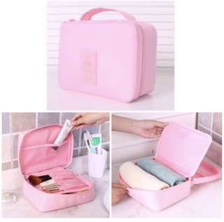 Travel Pink Tolietries Pouch Cosmetic Skincare Makeup Bag Organiser Organizer
