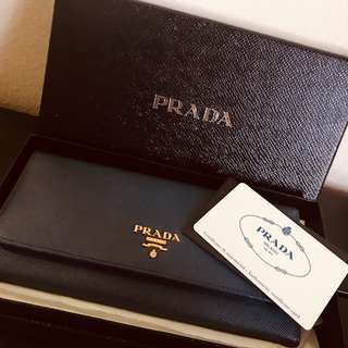 PRELOVED AUTHENTIC PRADA SAFFIANO METAL BLUETTE WALLET 1M1132