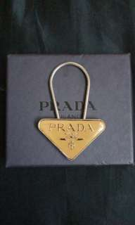Prada key ring,chain, charm metal logo enamel