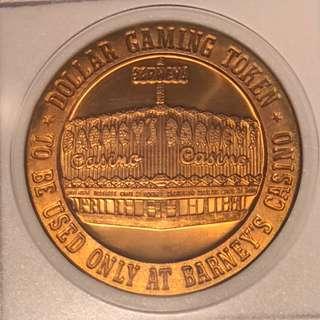 1966年美國Barney's 酒店賭場代幣。Franklin Mint .已經絕版。