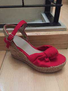 Red canvass cork wedge