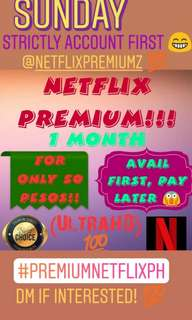 1 MONTH NETFLIX PREMIUM ACCOUNT!