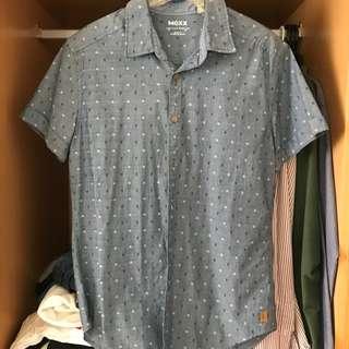 🚚 Mexx藍色日系小方格襯衫